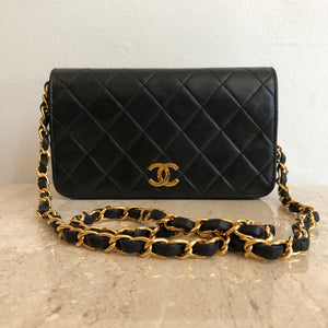 Authentic CHANEL Vintage Full Flap Clutch With Chain 7""