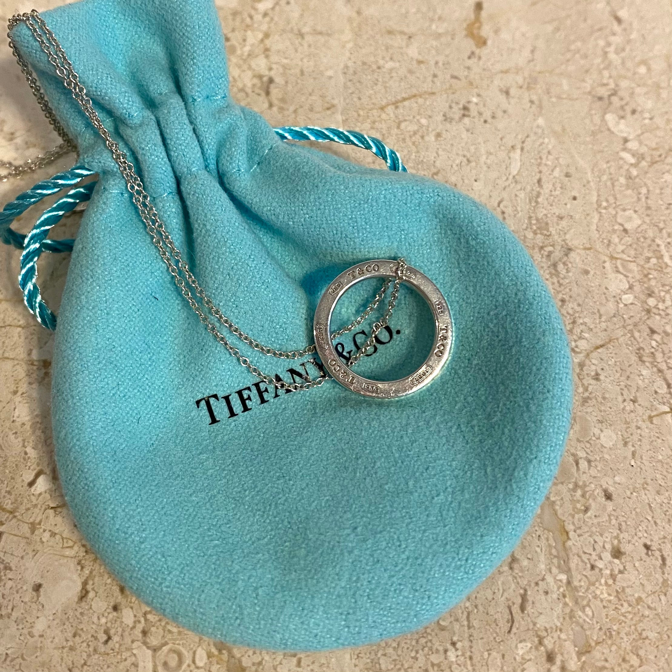 Authentic TIFFANY & CO. 1837 Sterling Silver Circle Pendant Necklace