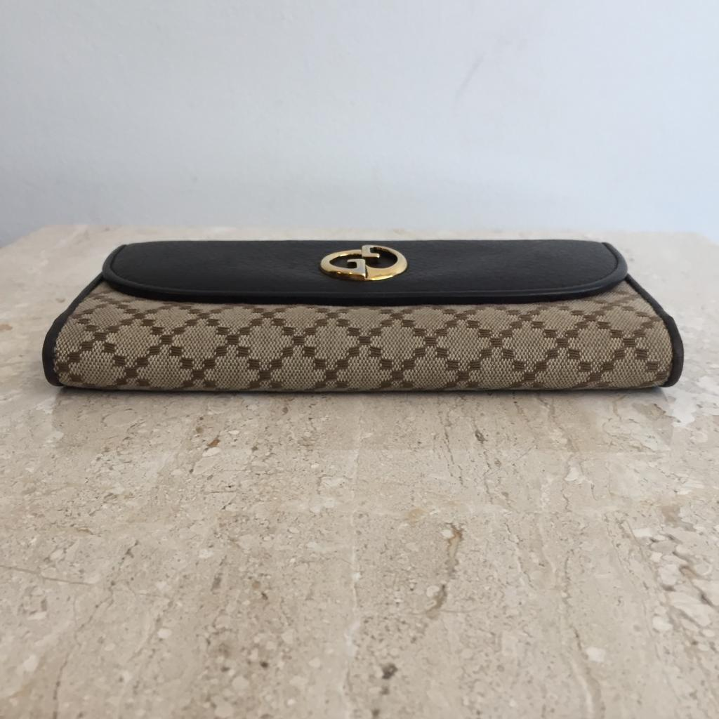 Authentic GUCCI 1973 Leather & Canvas Wallet