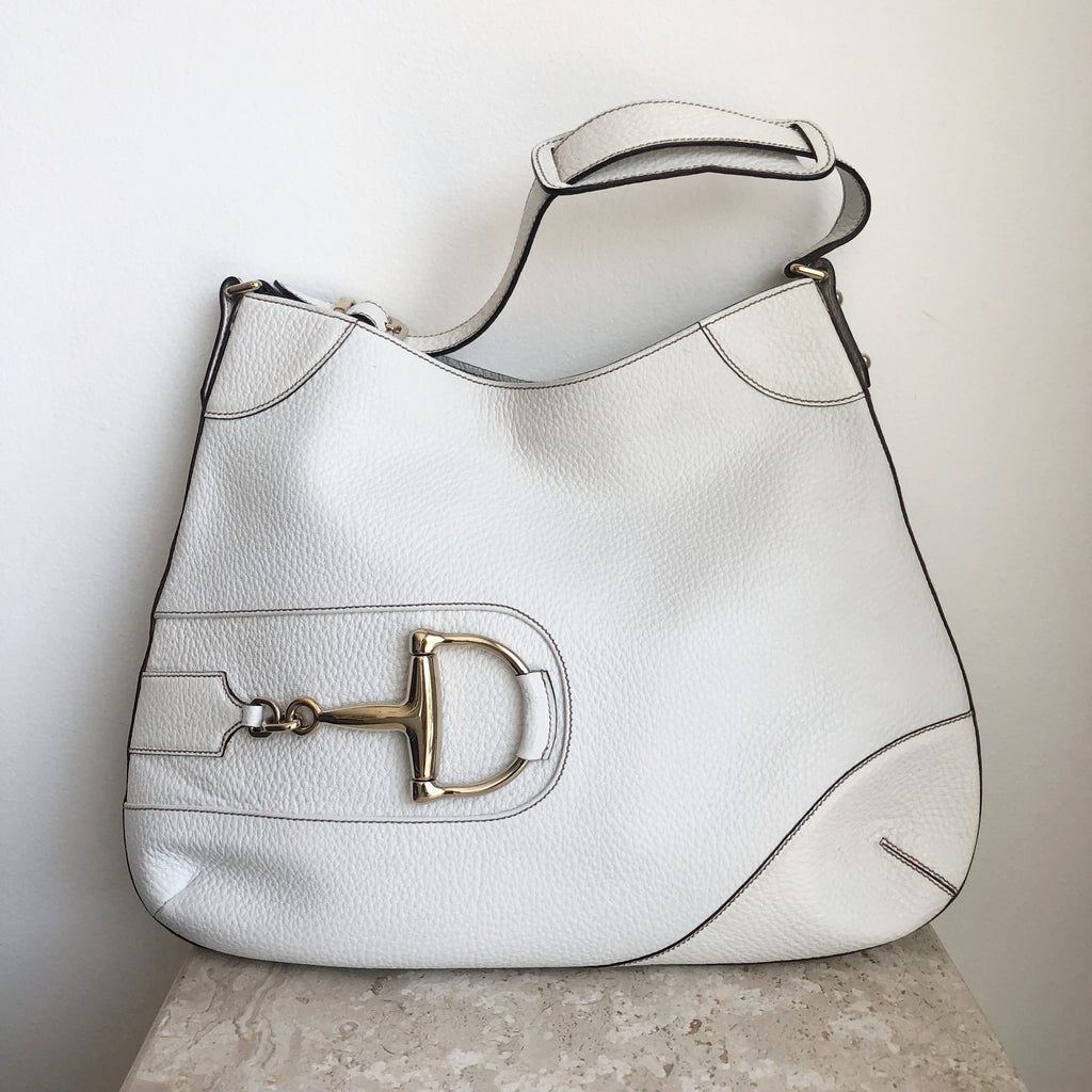 f33d1fcabdee Authentic GUCCI White Leather Hasler Shoulder Bag