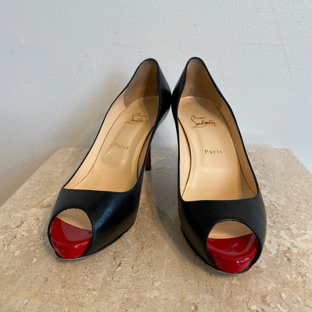 Authentic CHRISTIAN LOUBOUTIN Black Mater Claude Open-toe Mid-heel Pump - Size 10