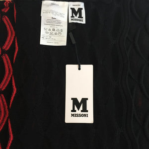Authentic MISSONI Black/Red Gradiant Fan Striped Scarf