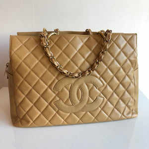 Authentic CHANEL Caviar Grand Timeless Tote GTT Beige