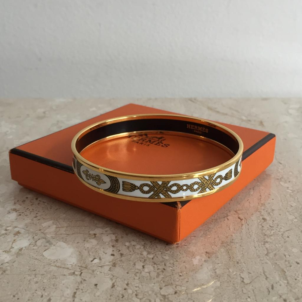 Authentic HERMES White/Gold Printed Enamel Bangle