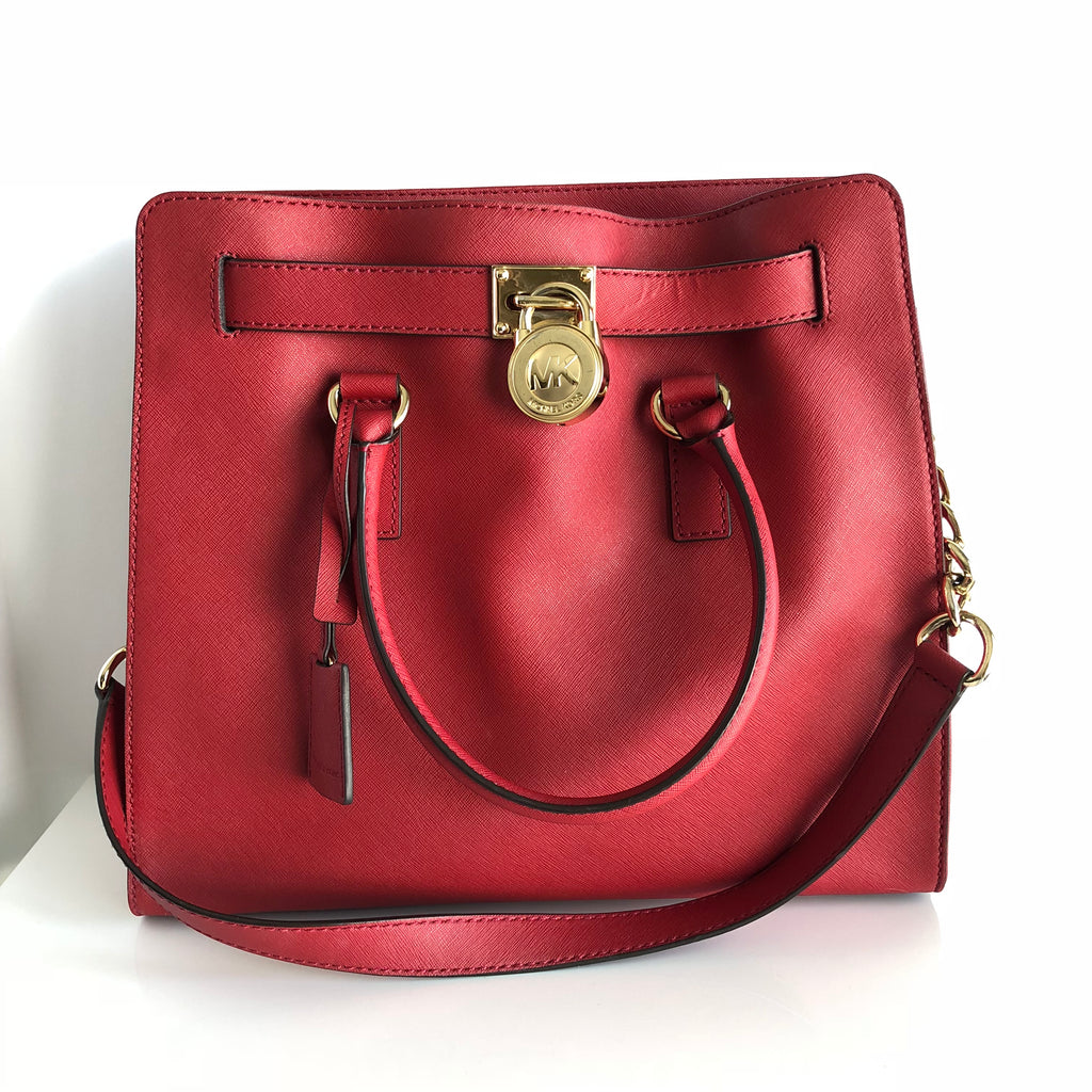 d708314bd9df Authentic MICHAEL KORS Red Hamilton Satchel