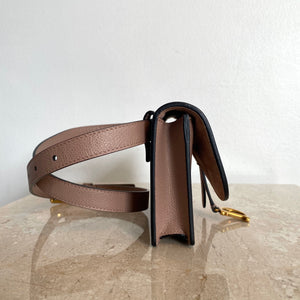 Authentic CHRISTIAN DIOR Nude Leather Saddle Belt Pouch