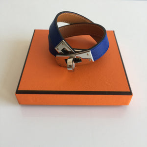Authentic HERMÈS Kelly Double Tour Swift Blue Electric Palladium Bracelet