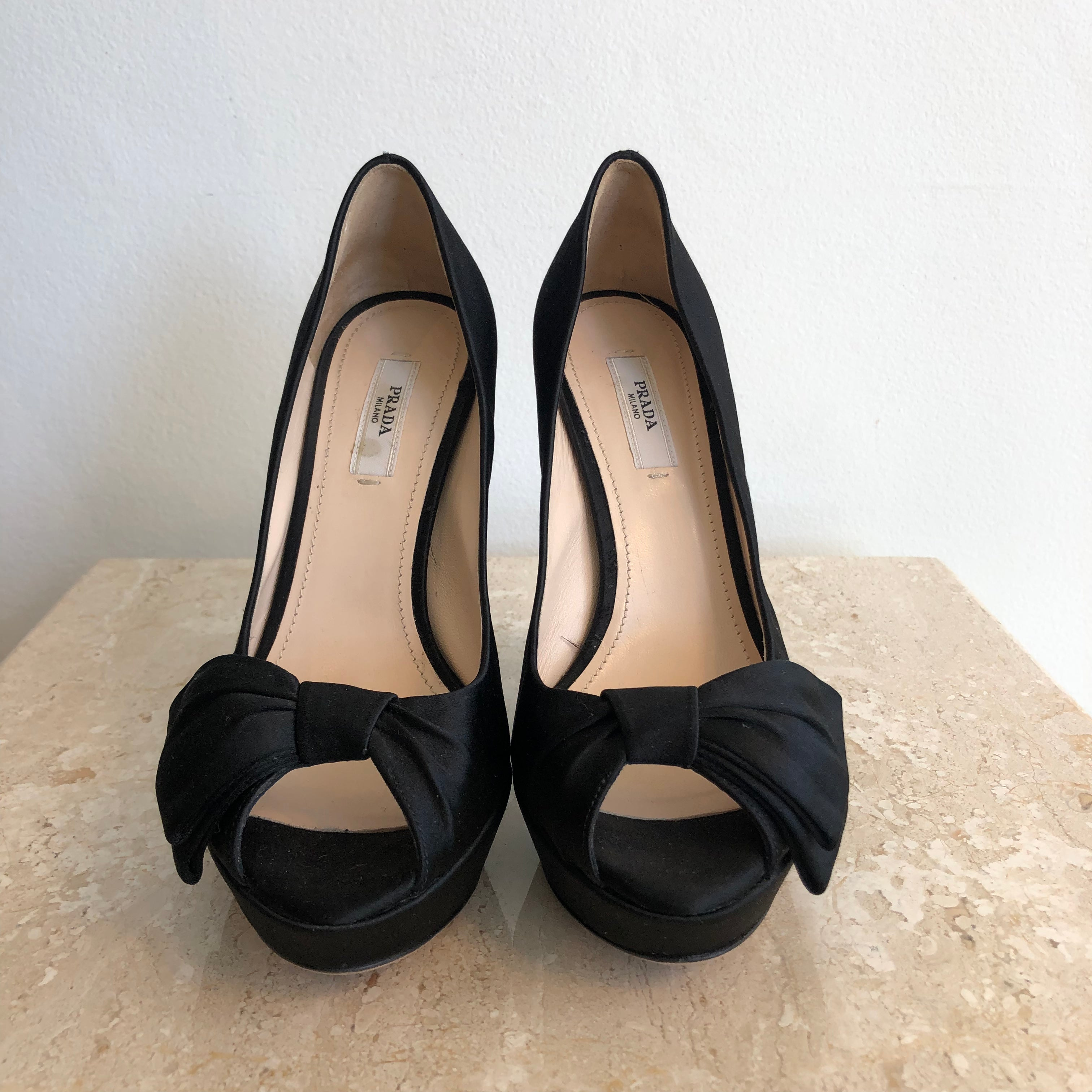 Prada black satin