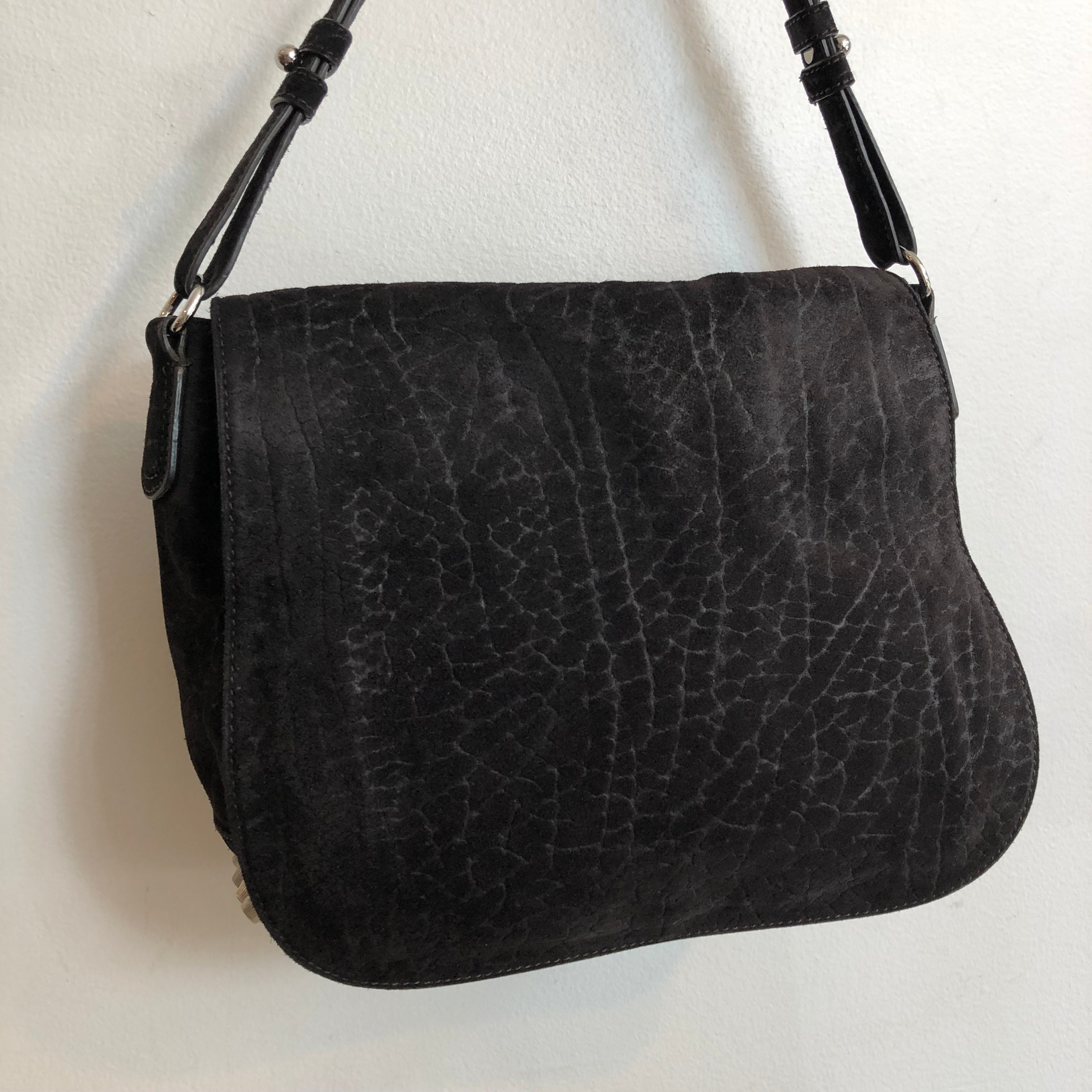 Authentic ALEXANDER WANG Black Distressed Suede Crossbody