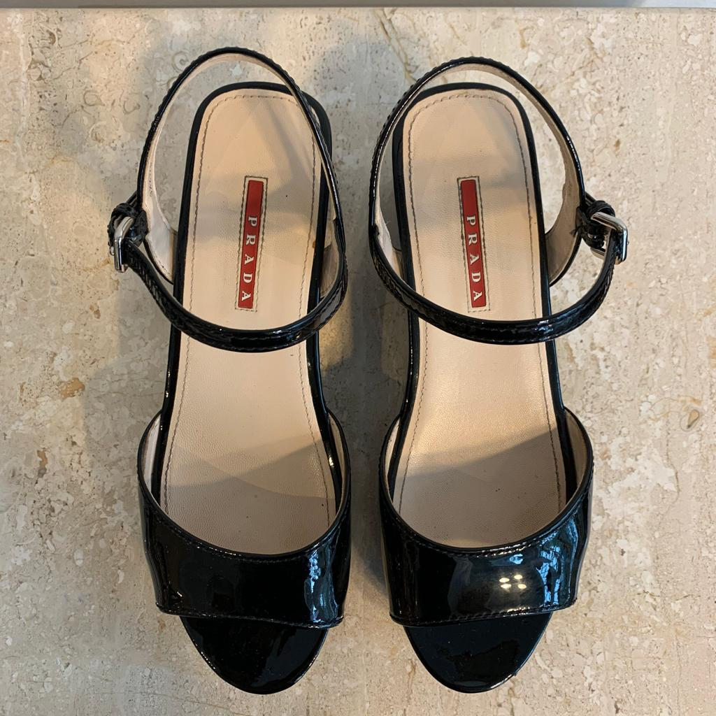 Authentic PRADA Black Patent Full Wedge/Platform Sandal