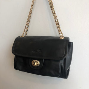Authentic COACH Black Leather with Gold Chain Handle Handbag - C