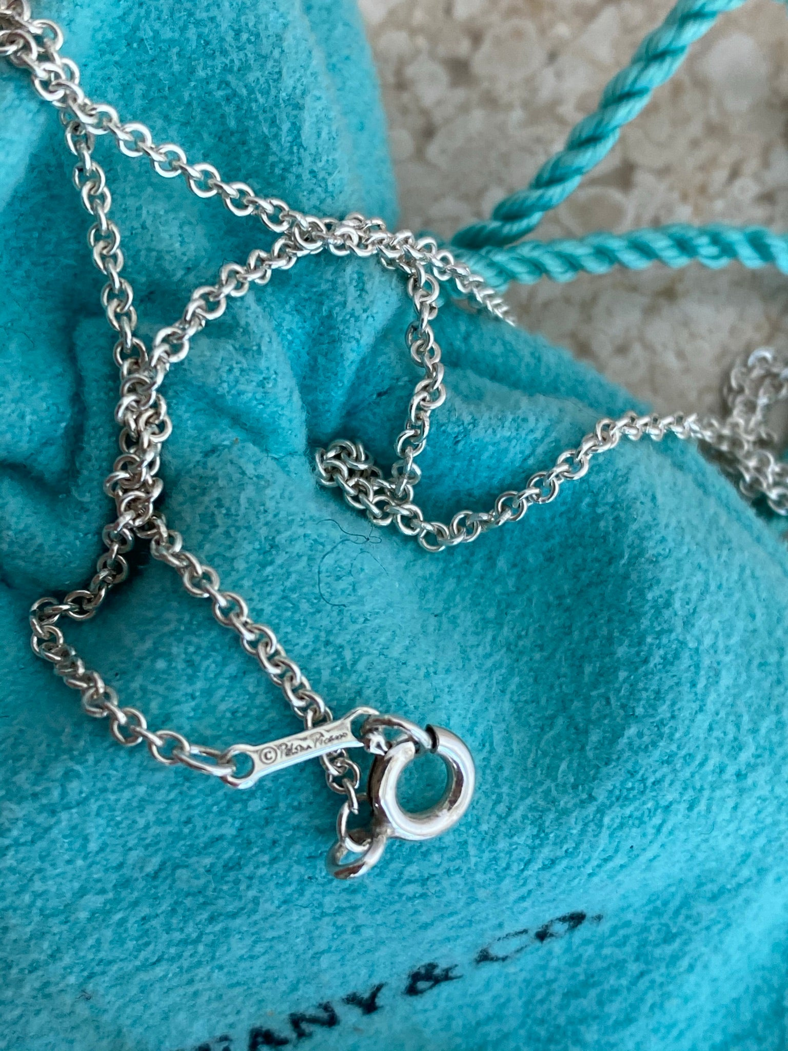 Authentic TIFFANY & CO. Sterling Silver Spiral Pendant/Chain