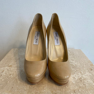 Authentic JIMMY CHOO Cosmic Nude Patent - 7 - Platform Pumps