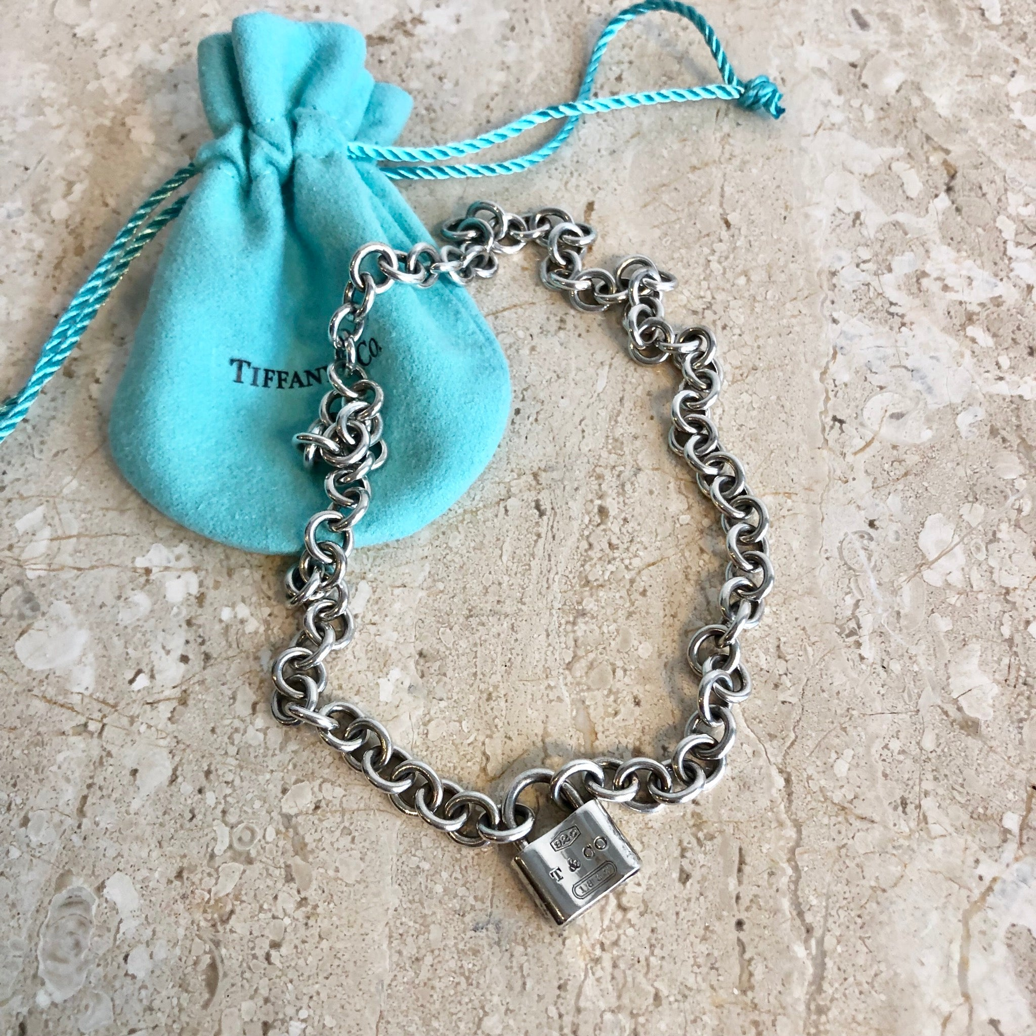Authentic TIFFANY & CO. Lock Charm Link Necklace