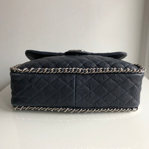 Authentic CHANEL Quilted Maxi Chain Around Flap Dark Navy Blue