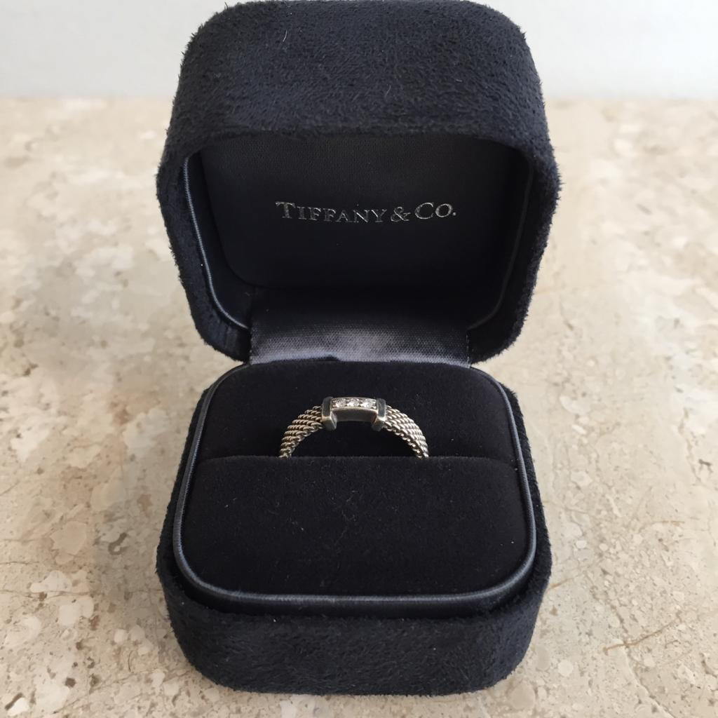 Authentic TIFFANY & CO. Sterling Silver & Diamond Somerset Ring