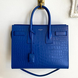 Authentic YVES SAINT LAURENT Shappire Blue Small Sac Du Jour