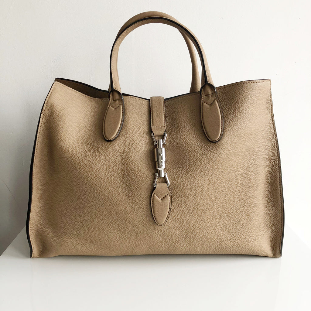 449db1db5332 Authentic GUCCI Jacki Soft Tan Leather Tote
