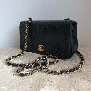 "Authentic CHANEL Vintage Black Lambskin 7"" Mini Crossbody"