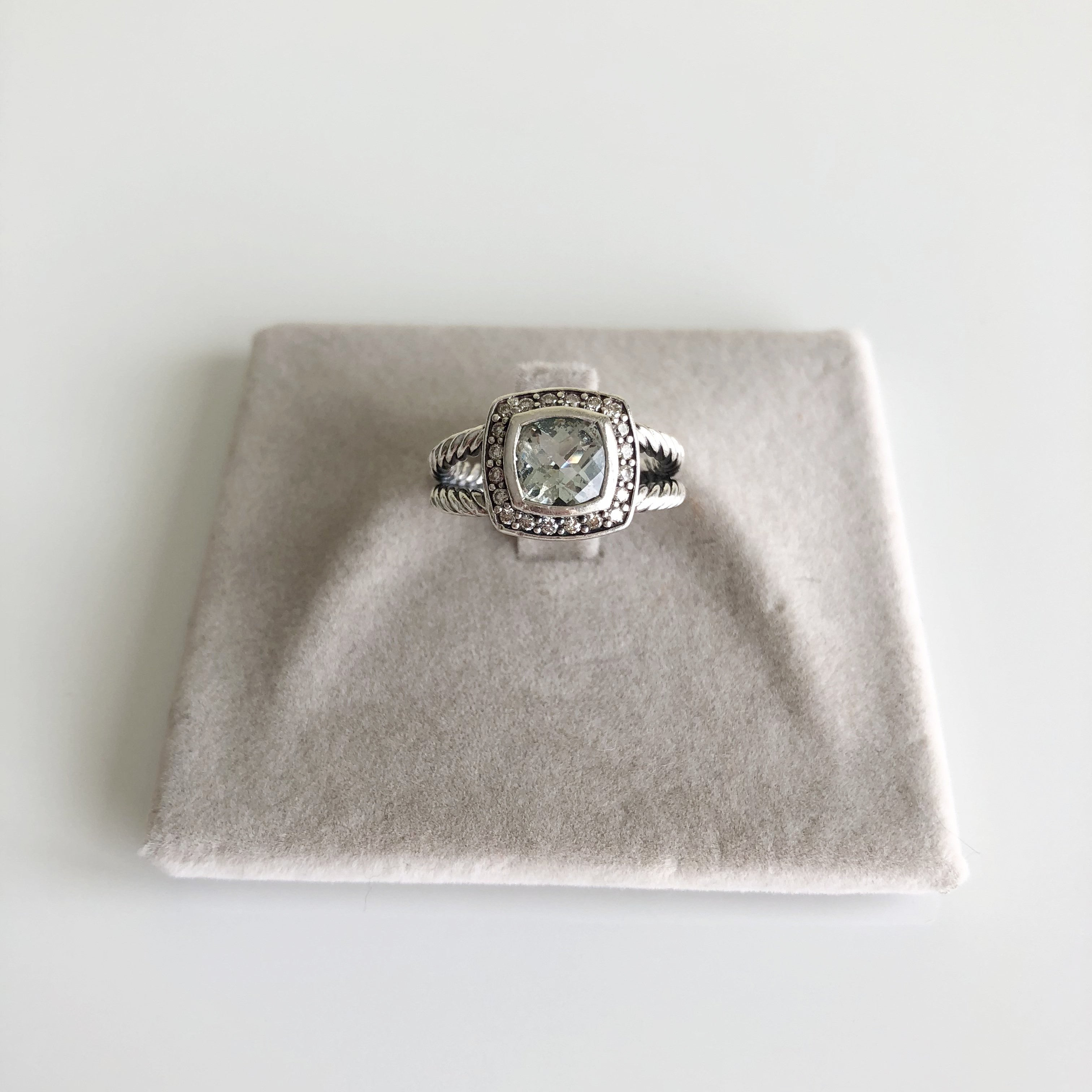 Authentic DAVID YURMAN  Prasiolite Diamond Ring