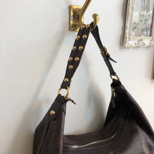 Authentic GUCCI Brown Leather Guccissima Hobo Handbag