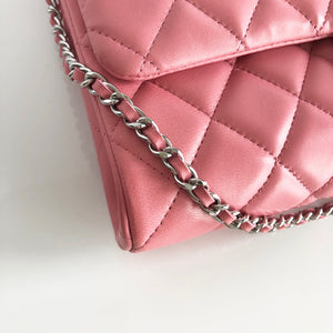 Authentic CHANEL Pink Quilted Lambskin Flap Clutch Bag