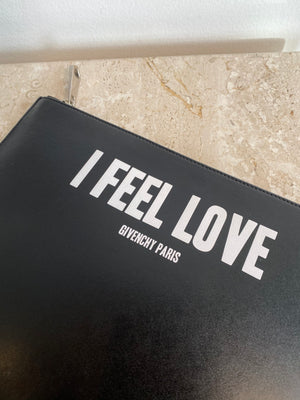 Authentic GIVENCHY 'I Feel Love' Medium Black Leather Clutch Bag