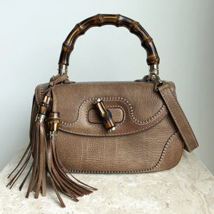 Authentic GUCCI Brown Distressed Leather Bamboo Top Handle Bag