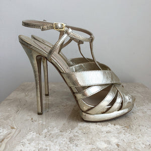 Authentic NICHOLAS KIRKWOOD Fused Lace Gold Sandals Size 10