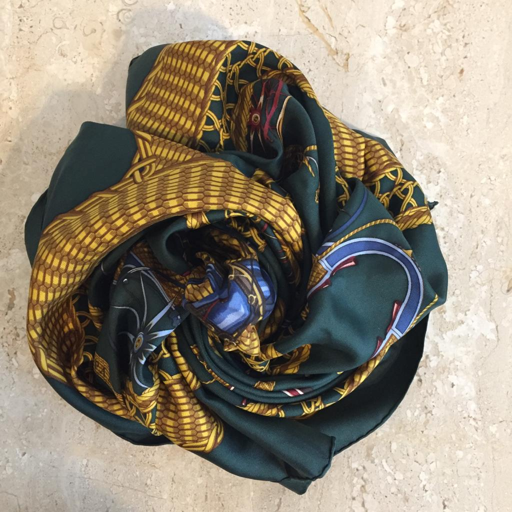 "Authentic HERMES ""Voiture Panier"" Silk Green Scarf"