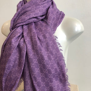 Authentic GUCCI Wool/Silk Purple GG Scarf