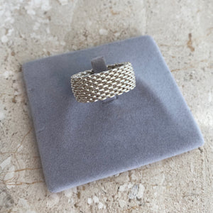 Authentic TIFFANY & CO. Sterling Silver Somerset Mesh Ring