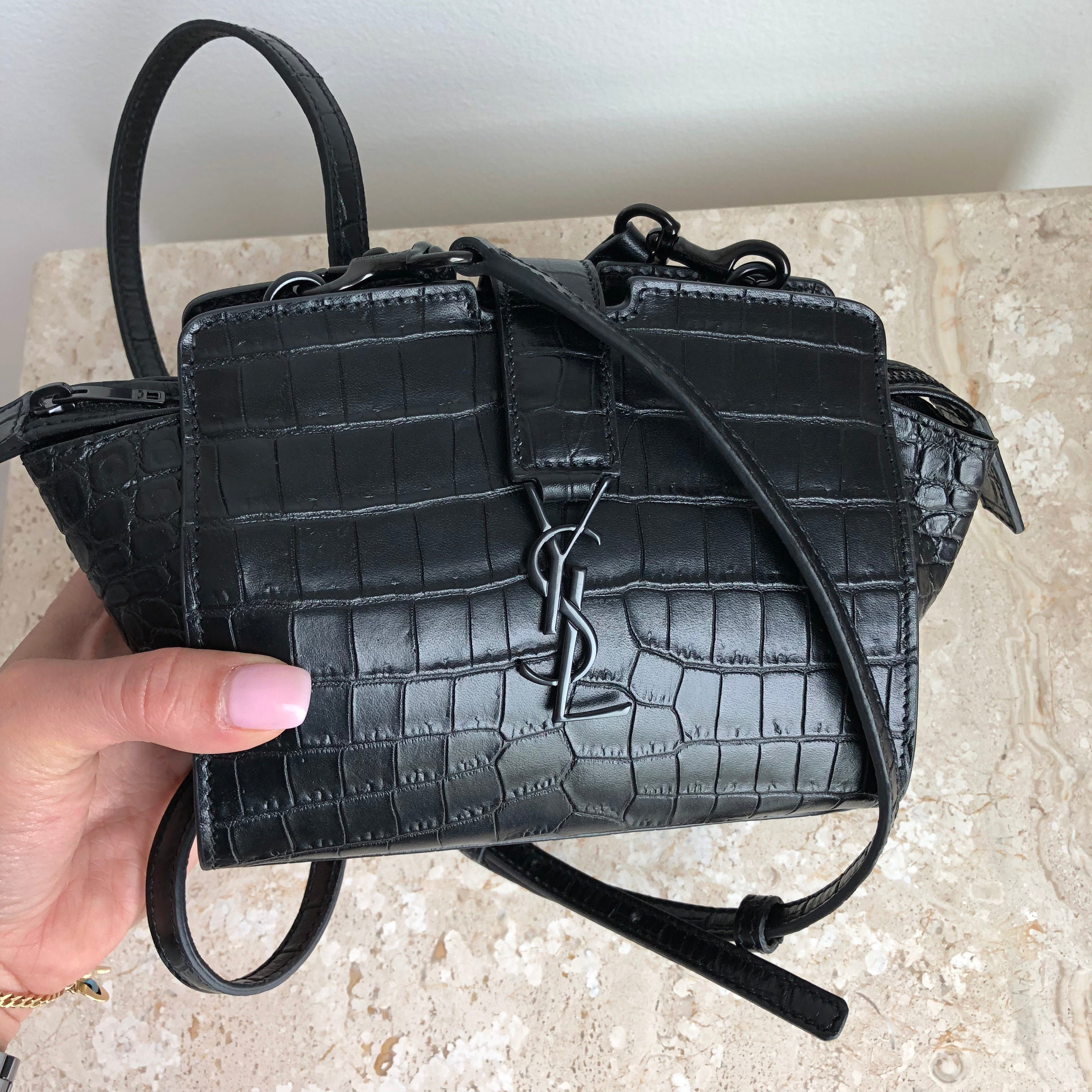 Authentic YVES SAINT LAURENT Black Mini Cabas Bag