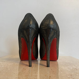 Authentic CHRISTIAN LOUBOUTIN Fifi Black Silver 100mm - Size 8
