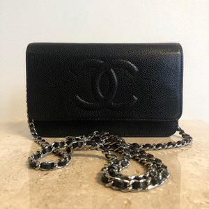 Authentic CHANEL Caviar Timeless Wallet On Chain