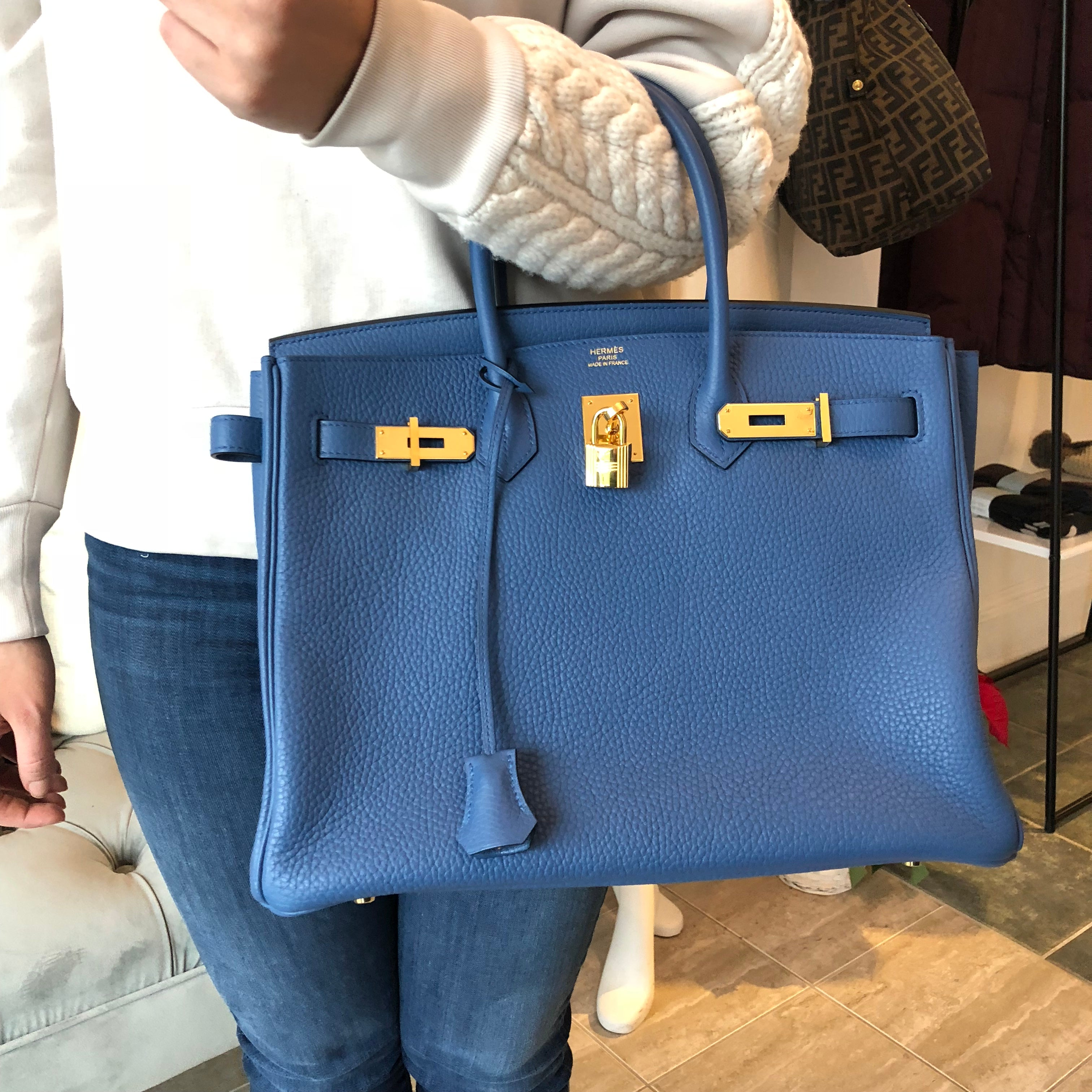 82ca05dcd52 ... where can i buy authentic hermes birkin 35 blue agate clemence leather  6015b f633b