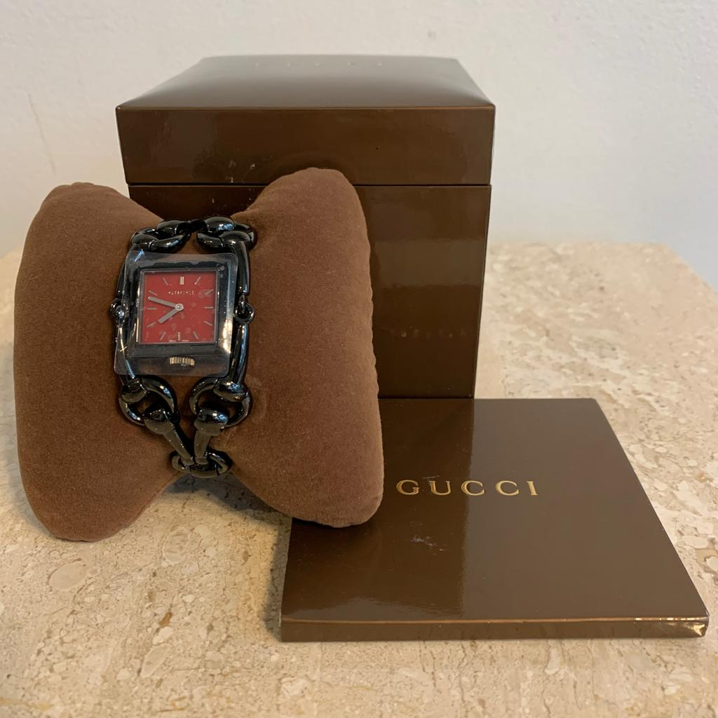 Authentic GUCCI Black Stainless Steel Signoria Quartz Watch