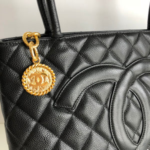 Authentic CHANEL Black Medallion Caviar Tote