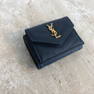 Authentic YSL Navy Leather Compact Wallet