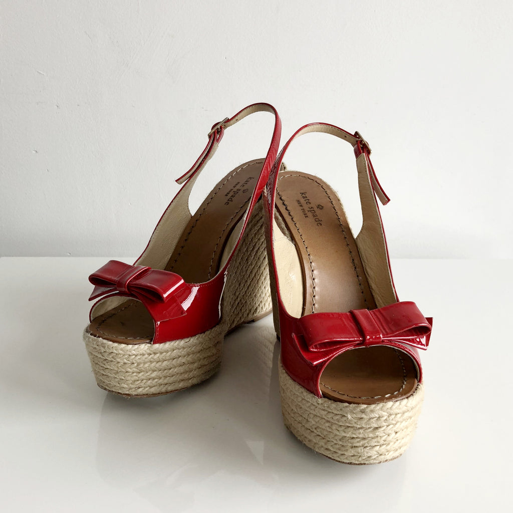 Authentic KATE SPADE Red Espadrilles Sandals Size 7