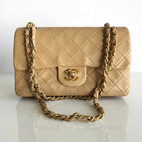 "Authentic CHANEL Vintage Beige Lambskin 9"" Double Flap Bag"