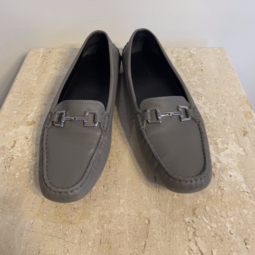Authentic GUCCI Grey Leather Driver Size 9