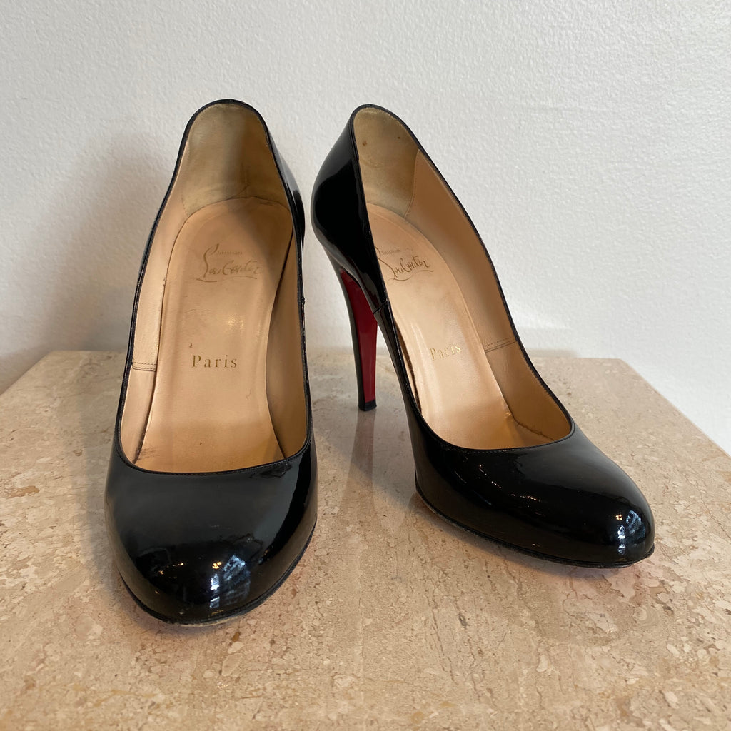 Authentic CHRISTIAN LOUBOUTIN Black Patent Ron Ron 100mm - Size 7.5