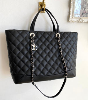 Authentic CHANEL Black Calfskin Quilted Large Easy Shopping Tote