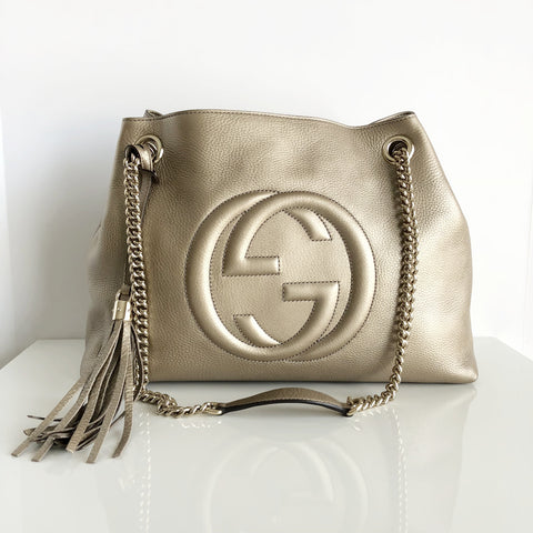 Authentic GUCCI Soho Metallic Chain Shoulder Bag