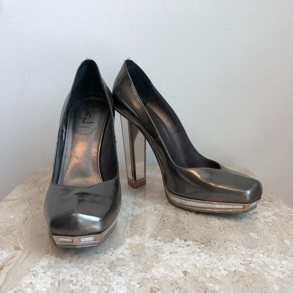 Authentic YVES SAINT LAURENT Tripon Mirror Pumps