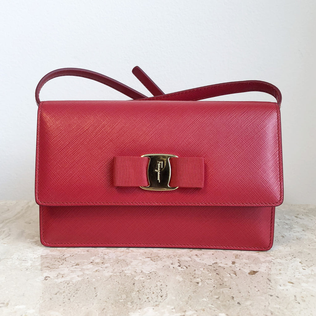 Authentic SALVATORE FERRAGAMO Small Red Leather Crossbody