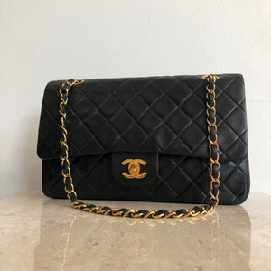 Authentic CHANEL Vintage Black Double Flap 10""