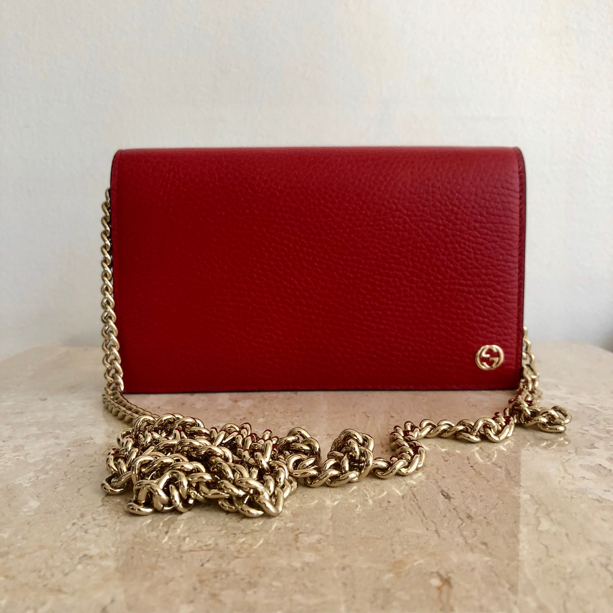 Authentic GUCCI Red Wallet On Chain