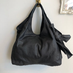 Authentic VALENTINO Dark Blue Denim Nuage Bow Tote Bag
